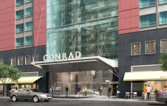 The conceptualized exterior of the Conrad New York.