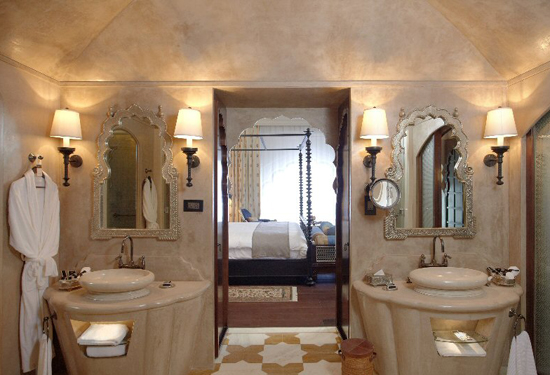 A luxurious bathroom in the Fairmont Jaipur Hotel.