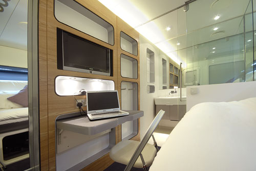 A premium cabin at the Hotel Yotel.