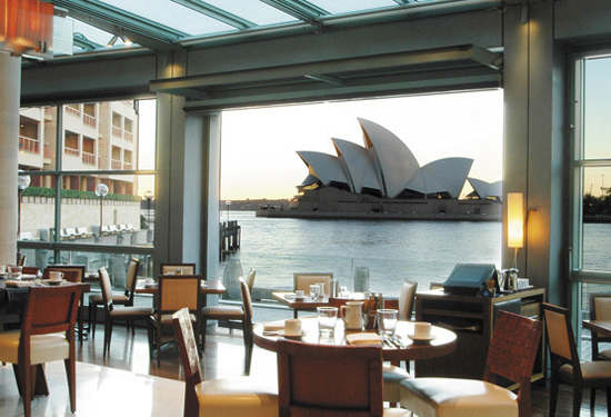 The view from the Park Hyatt Sydney's restaurant.