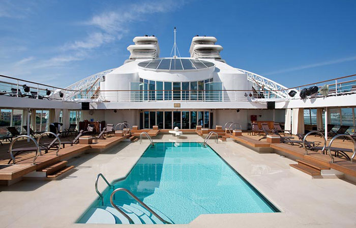 The pool deck on the Seabourn Odyssey Cruise.