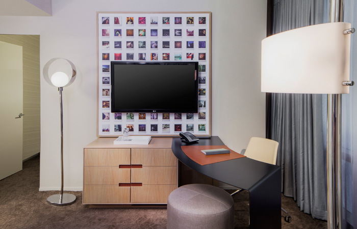 A bedroom at the new Hyatt Times Square.