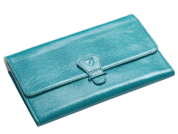 The Classic Travel Wallet in turquoise.