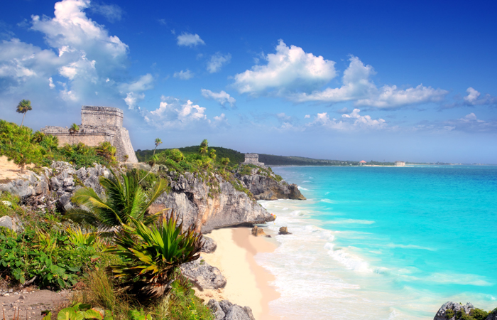The Tulum ruins overlook the Caribbean Sea.