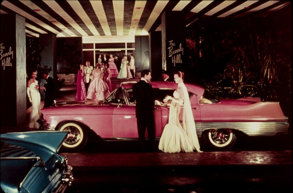 Red carpet arrivals at The Beverly Hills Hotel in the fifties.