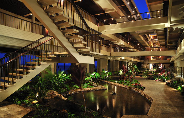 The architecture inside the main tower. Image courtesy Mauna Kea Beach Hotel.