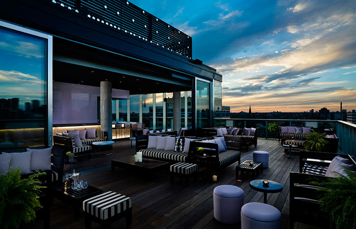 The rooftop lounge at the Thompson Toronto.