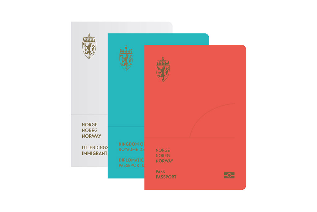 The new Norway passport cover designed by Neue Design Studio.