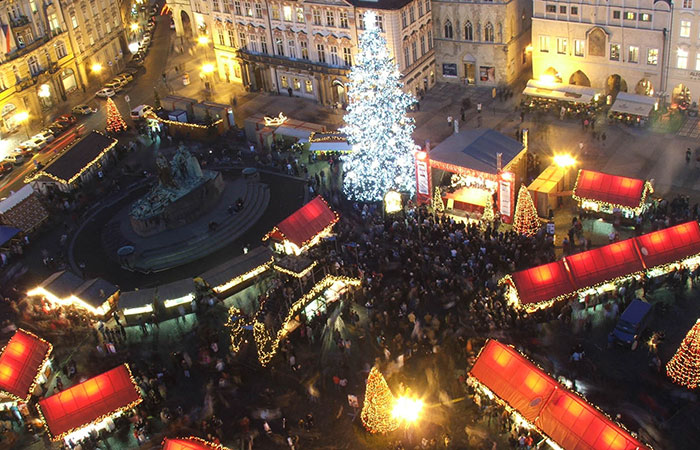 The Christmas market in Prague's Old Town Square.