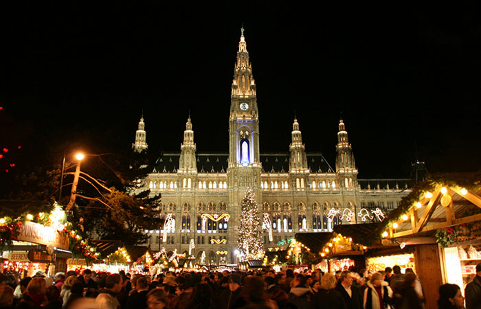 The Christmas market at Rathaus in Vienna.