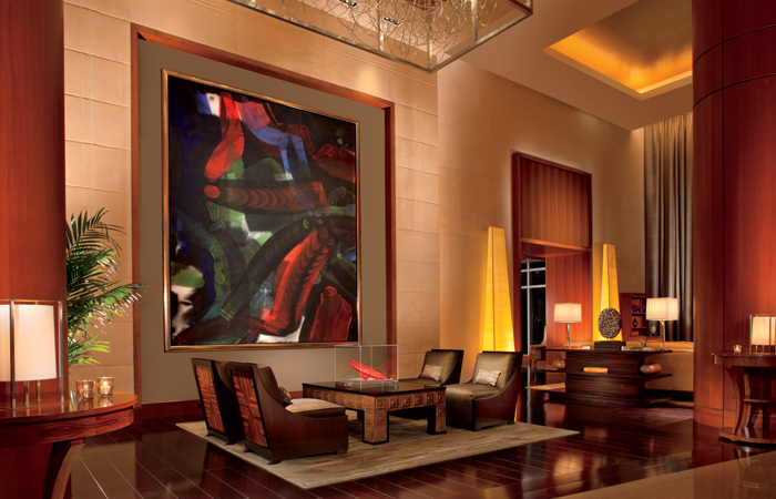 The lobby, which includes a selection of art from their $4 million collection.