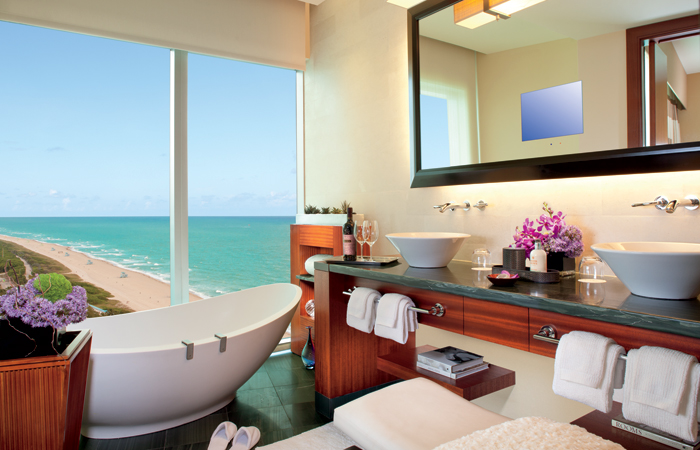 A luxurious bathroom in an Ocean View and Oceanfront Room.