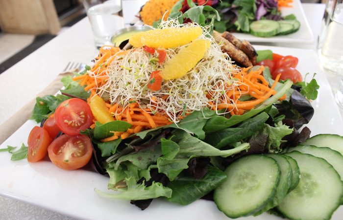 A leafy green salad at Aux Vivres.