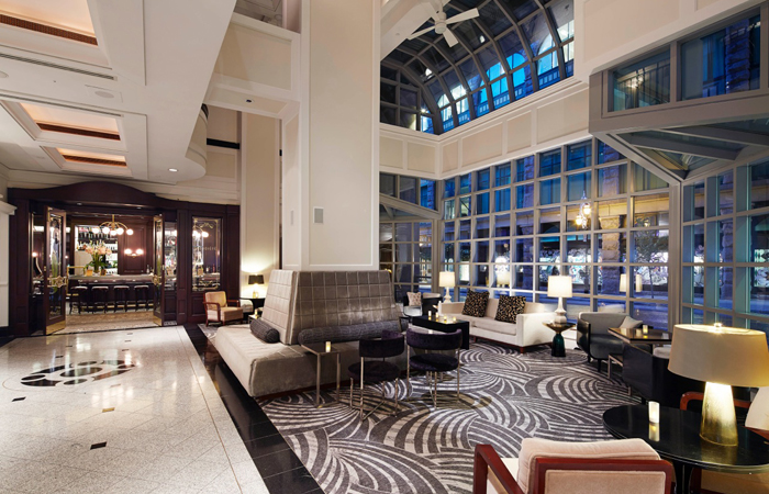 The lobby at the Loews Hotel Vogue Montreal.