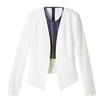 It's time to invest in a light-weight white blazer this spring for your travels! Collarless Blazer, $34.99, marshallscanada.ca