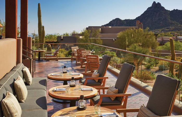 The Proof patio at Four Seasons Resort Scottsdale at Troon North.