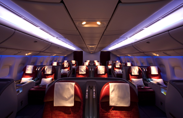 The business class cabin in Qatar Airways Boeing 777.