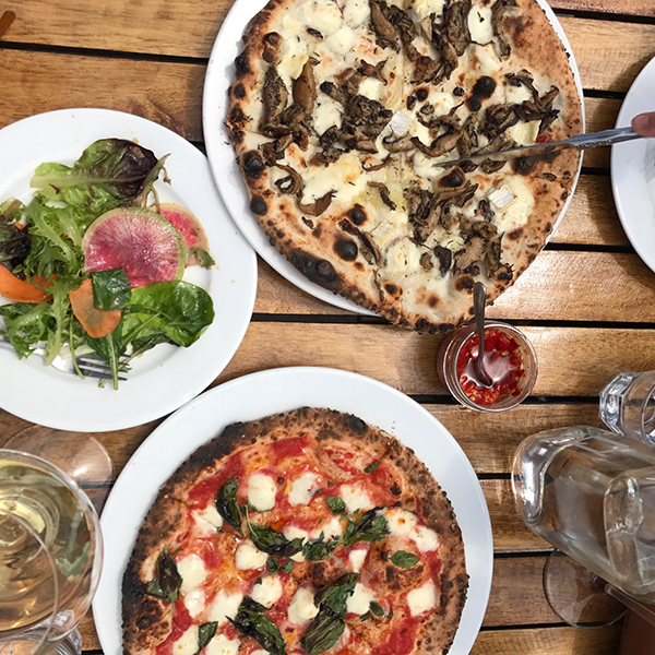 Wood-fired pizzas at Norman Hardin Winery