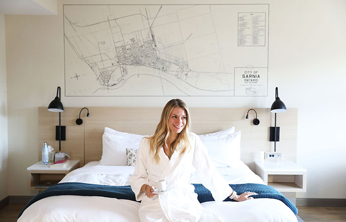 The room at the Insignia in Sarnia had a map of the city above the bed.